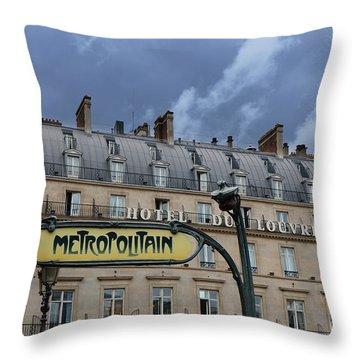 Paris Metropolitain Sign At The Paris Hotel Du Louvre Metropolitain Sign Art Noueveau Art Deco Throw Pillow by Kathy Fornal