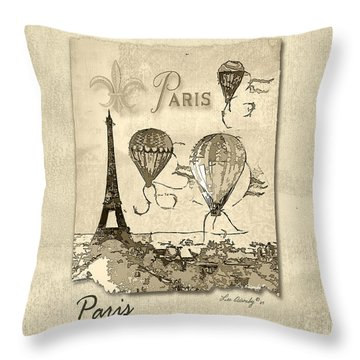 Paris In Sepia Throw Pillow