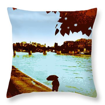 Paris In The Rain Throw Pillow