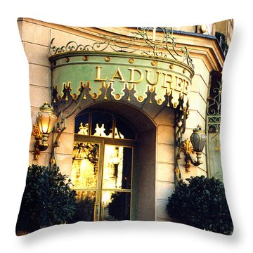 Paris Laduree French Bakery Patisserie - Champs Elysees Location Throw Pillow by Kathy Fornal