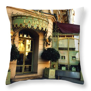 Paris Laduree Macaron French Bakery Patisserie Tea Shop - Champs Elysees - The Laduree Patisserie Throw Pillow by Kathy Fornal