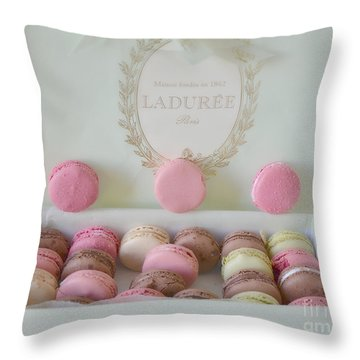 Paris Laduree Pastel Macarons - Paris Laduree Box - Paris Dreamy Pink Macarons - Laduree Macarons Throw Pillow by Kathy Fornal