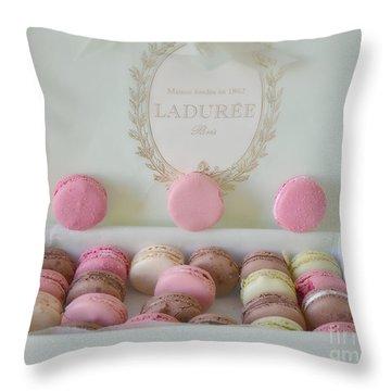 Paris Laduree Pastel Macarons - Paris Laduree Box - Paris Dreamy Pink Macarons - Laduree Macarons Throw Pillow