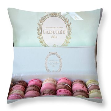 Paris Laduree Macarons - Dreamy Laduree Box Of French Macarons With Laduree Bag  Throw Pillow by Kathy Fornal
