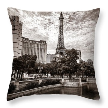 Paris Las Vegas Throw Pillow