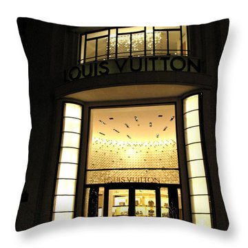 Paris Louis Vuitton Boutique Store Front - Paris Night Photo Louis Vuitton - Champs Elysees  Throw Pillow by Kathy Fornal