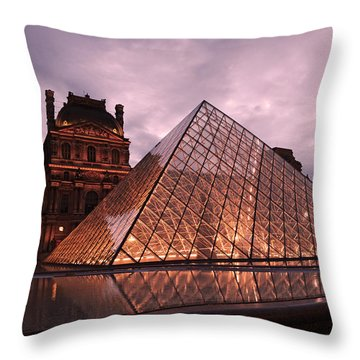Paris Louvre Museum Dusk Twilight Night Lights - Louvre Pyramid Triangle Night Lights Architecture  Throw Pillow