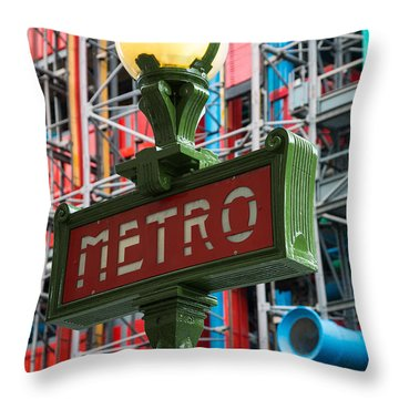 Paris Metro Throw Pillow by Inge Johnsson