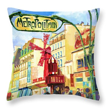 Paris Metropolitain Blanche Moulin Rouge  Throw Pillow by Yuriy  Shevchuk
