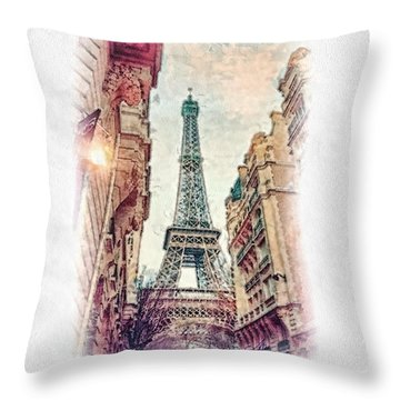 Paris Mon Amour Throw Pillow by Mo T