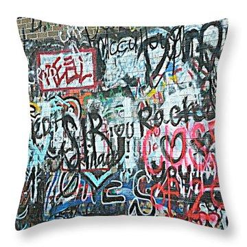 Paris Mountain Graffiti Throw Pillow by Kathy Barney