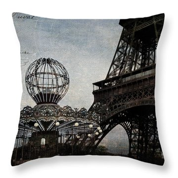 Paris One More Ride Throw Pillow