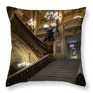 Paris Opera Garnier Grand Staircase - Paris Opera House Architecture Grand Staircase Fine Art Throw Pillow by Kathy Fornal