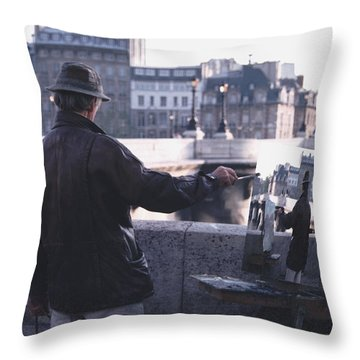 Throw Pillow featuring the photograph Paris Painter Inspiration Magritte by Tom Wurl