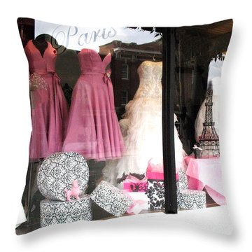 Paris Pink White Bridal Dress Shop Window Paris Decor Throw Pillow by Kathy Fornal