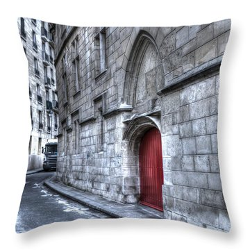 Paris Red Door Throw Pillow by Evie Carrier