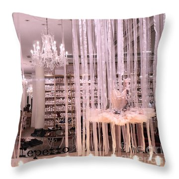 Paris Repetto Ballerina Tutu Shop - Paris Ballerina Dresses Window Display  Throw Pillow