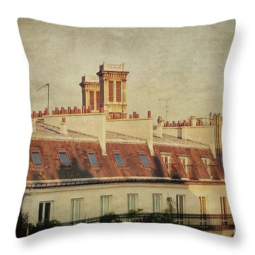 Paris Rooftops Throw Pillow