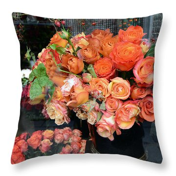 Paris Roses Autumn Fall Peach Orange Roses - Paris Roses Flower Market Shop Window Throw Pillow