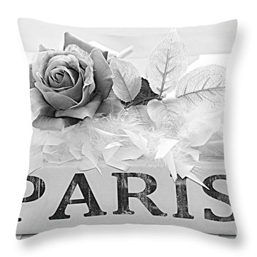 Paris Roses Books Photography  - Dreamy Romantic Paris Black White Books Roses Art Deco  Throw Pillow by Kathy Fornal