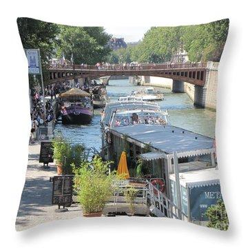 Paris - Seine Scene Throw Pillow