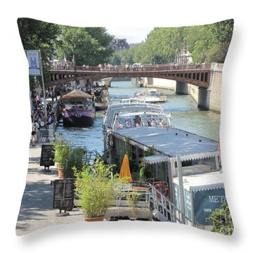 Paris - Seine Scene Throw Pillow