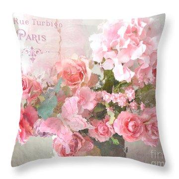 Paris Shabby Chic Dreamy Pink Peach Impressionistic Romantic Cottage Chic Paris Flower Photography Throw Pillow