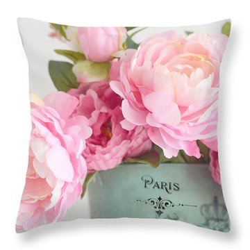 Paris Peonies Shabby Chic Dreamy Pink Peonies Romantic Cottage Chic Paris Peonies Floral Art Throw Pillow
