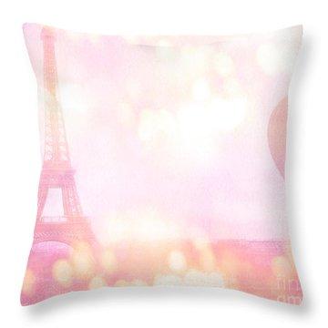 Paris Shabby Chic Romantic Dreamy Pink Eiffel Tower With Hot Air Balloon Throw Pillow