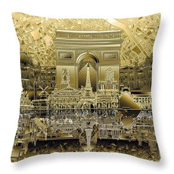 Paris Skyline Landmarks 4 Throw Pillow