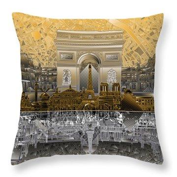 Paris Skyline Landmarks 5 Throw Pillow