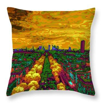 Paris Skyline Pop Art Throw Pillow by Eti Reid