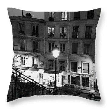 Paris-steps-montmartre Throw Pillow