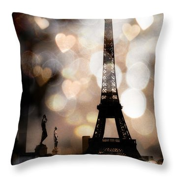 Paris Surreal Fantasy Sepia Black Eiffel Tower Bokeh Hearts And Circles - Paris Sepia Fantasy Nights Throw Pillow by Kathy Fornal