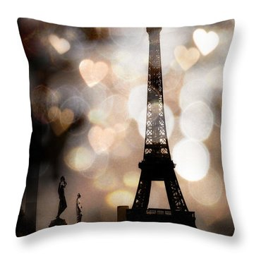 Paris Surreal Fantasy Sepia Black Eiffel Tower Bokeh Hearts And Circles - Paris Eiffel Tower Hearts  Throw Pillow