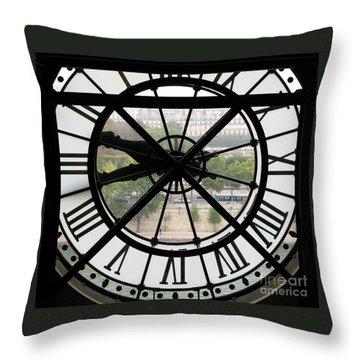 Throw Pillow featuring the photograph Paris Time by Ann Horn