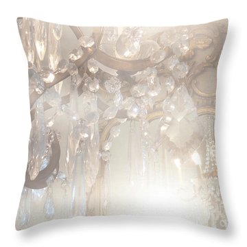 Paris Dreamy White Gold Ghostly Crystal Chandelier Mirrored Reflection - Paris Crystal Chandeliers Throw Pillow by Kathy Fornal