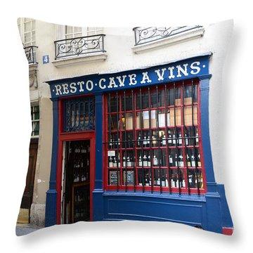 Paris Wine Shop Resto Cave A Vins - Paris Street Architecture Photography Throw Pillow