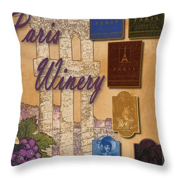 Paris Winery Labels Throw Pillow