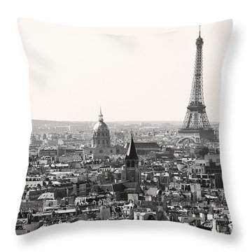 Paris With Eiffel Tower In Black And White  Throw Pillow