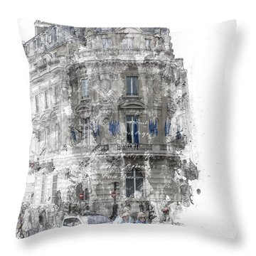 Paris With Flags Throw Pillow