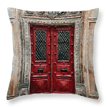Parisian Door No.82 Throw Pillow