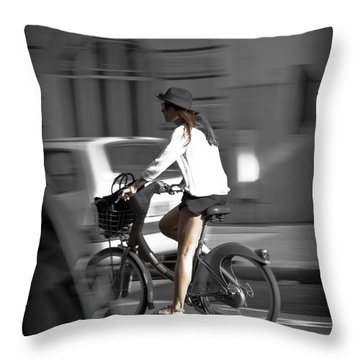 Parisian Girl Cyclist Throw Pillow by Maj Seda
