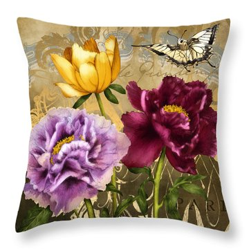 Parisian Peonies Throw Pillow