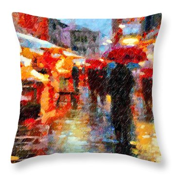Parisian Rain Walk Abstract Realism Throw Pillow