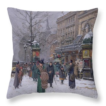 Parisian Street Scene Throw Pillow