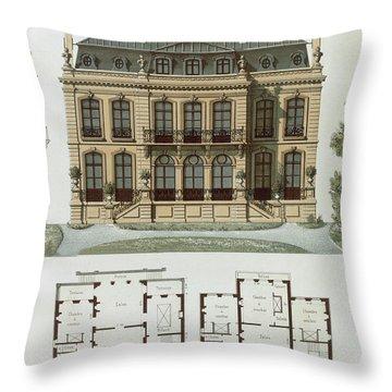 Parisian Suburban House And Plans Throw Pillow