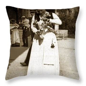 Throw Pillow featuring the photograph Parisian Woman Lady Paris France 1900 Historical Photo by California Views Mr Pat Hathaway Archives