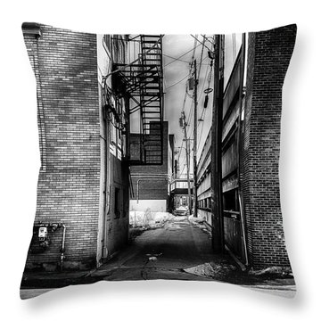 Park Alley Sunset Throw Pillow by Bob Orsillo