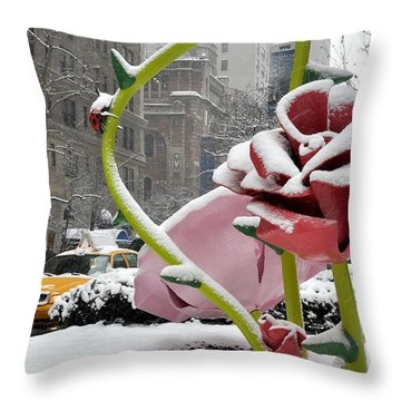 Park Avenue Rose In The Snow Throw Pillow by Diane Lent